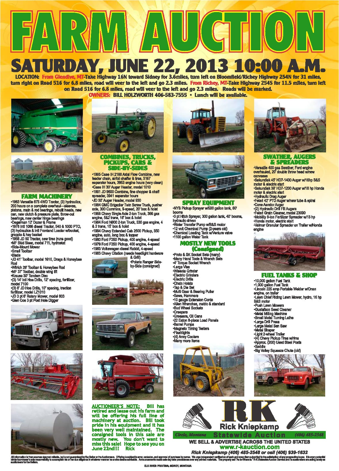Farm & Machinery Auction (6.22.13) | RK Statewide Auction Service
